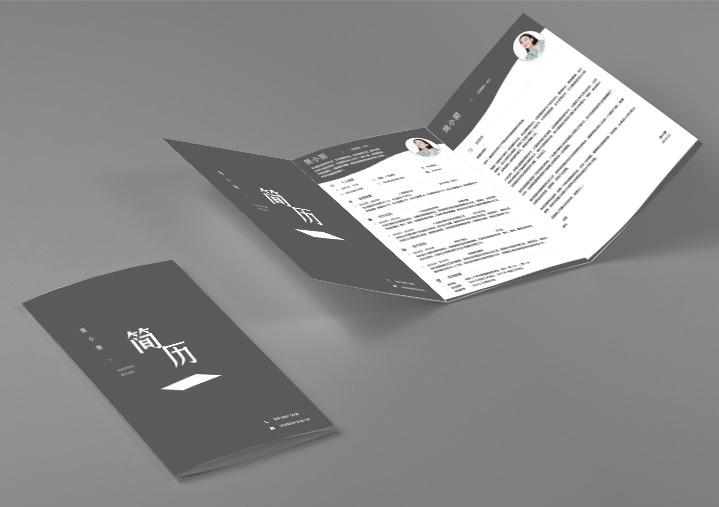 个人简历黑白封面下载fm23-三折页效果【图】