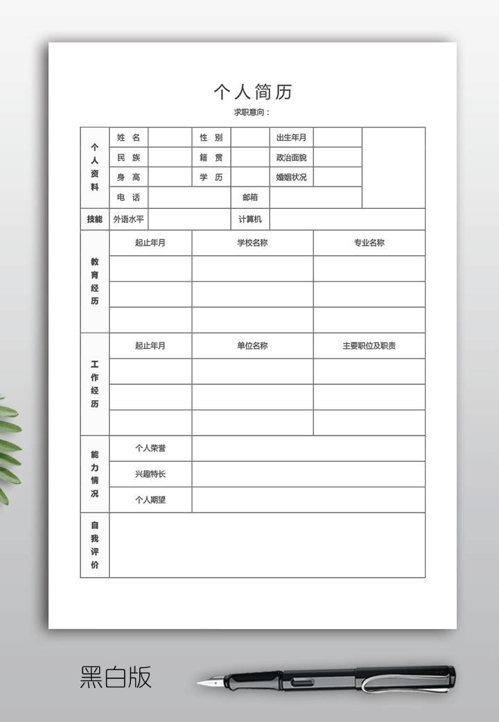教师个人简历表格下载bg10空白版详细大图