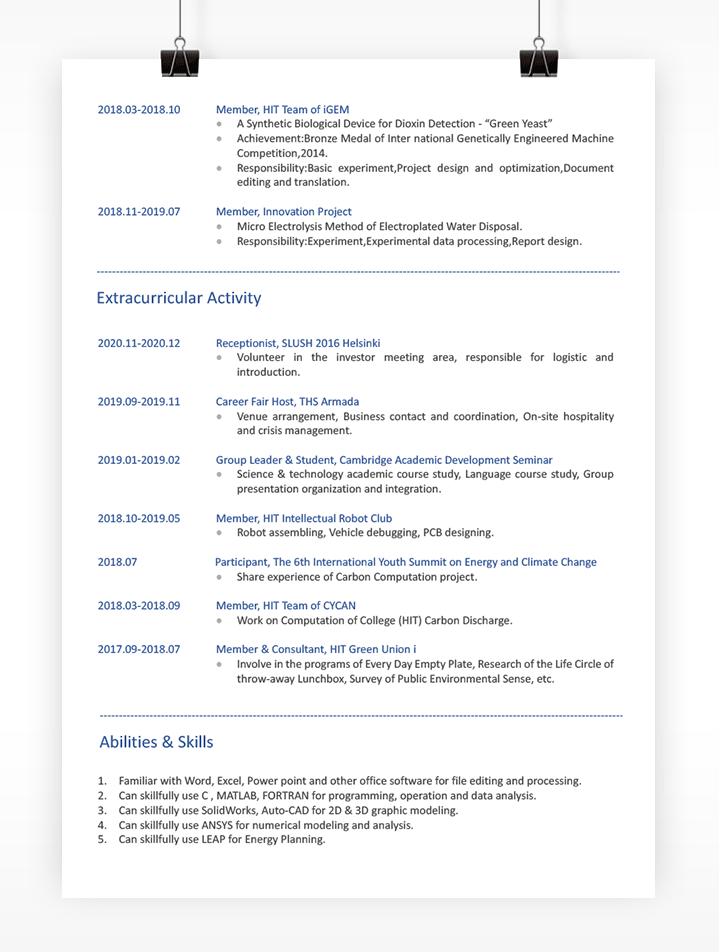 英文简历模板下载免费mf39第二页效果图