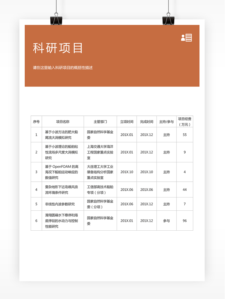 高校教师个人简历模板fm60 - 科研项目详情【图】