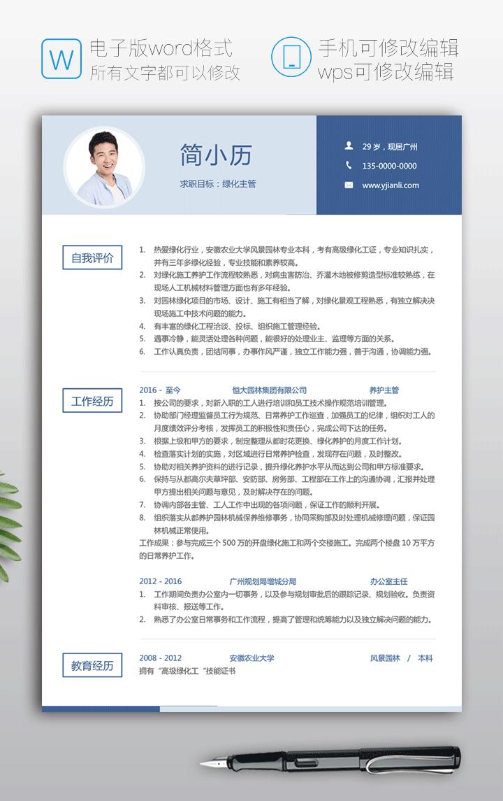 绿化主管个人简历样本范文fw29简历详情【图】