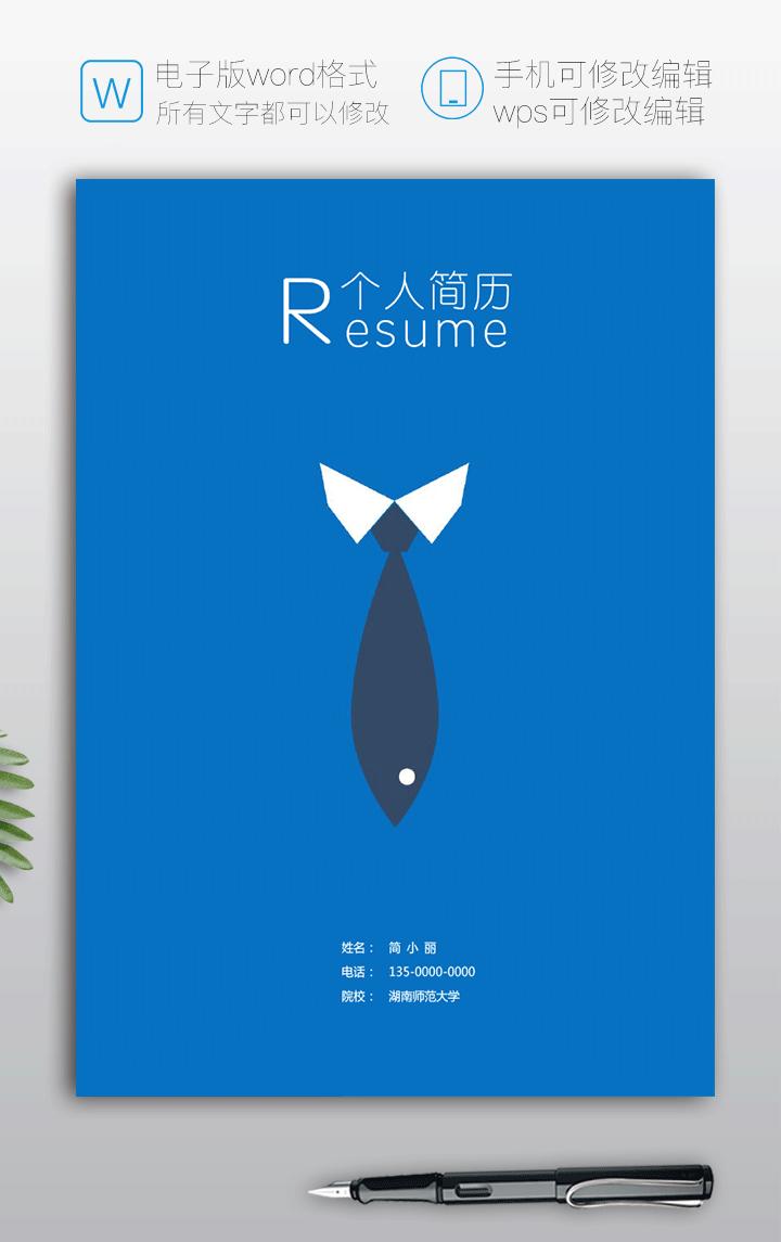 服装设计师个人简历封面模板(含作品展示)fm65-简历封面页【图】
