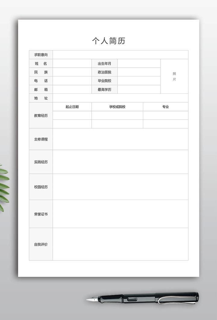 通用简历表格空白版+文字版下载ff08-简历详情【图】
